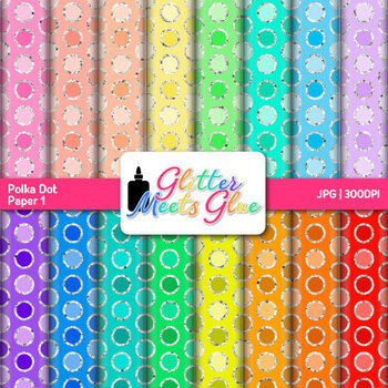 Rainbow Polka Dot Paper {Scrapbook Backgrounds for Task Cards & Brag Tags} 1