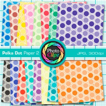 Rainbow Polka Dot Paper {Scrapbook Backgrounds for Worksheets, Resources} 2