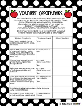 Polka Dot Parent Helper Packet