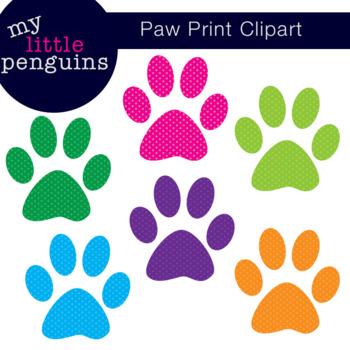 Polka Dot Paw Print Clipart (clip art)
