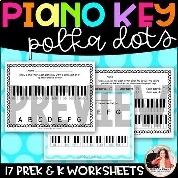 Polka Dot Piano Keys Worksheets for Young Students