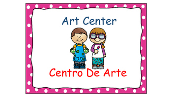 Polka Dot (Pink) Bilingual Learning Centers Signs