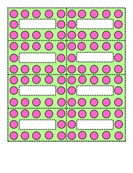 Polka Dot Pink and Lime Green Small Labels