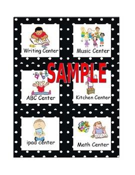 Polka Dot Pocket Chart Center Cards