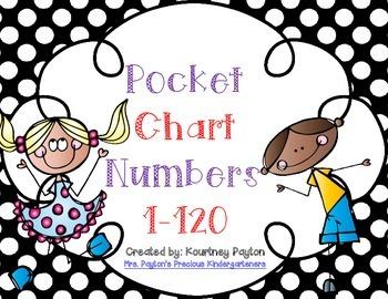 Polka Dot Pocket Chart Numbers 1-120