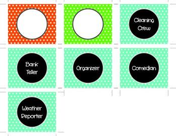 Polka Dot Pocket Job Chart