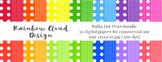 Polka Dot Print Bundle, 32 digital papers, size 12x12, 300 dpi.