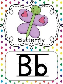 {Polka Dot Rainbow} Alphabet Line with Pictures