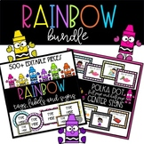 Polka Dot Rainbow BUNDLE of Center Signs with EDITABLE tags, labels and signs