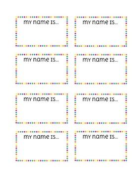 Polka Dot Rainbow Name Tags
