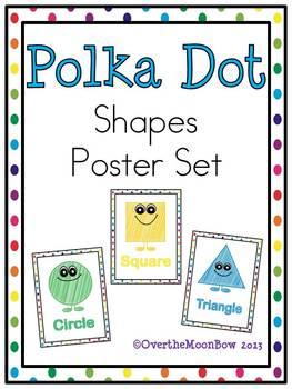 Polka Dot Rainbow Shapes Poster Set
