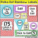 Classroom Labels - Polka Dot Rainbow Theme