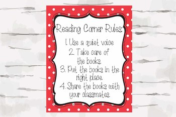 Polka Dot Reading Corner Rules, Polka Dot Theme decor