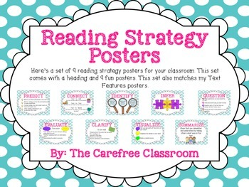 Reading Strategy Posters: Polka Dot Theme