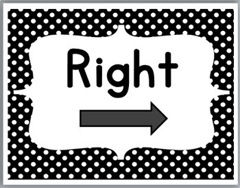 Polka Dot Classroom Decor - Positional Words - Right & Left  Posters