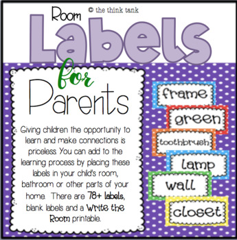 Polka Dot Room Labels for Parents