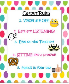 Polka Dot Rules and Procedures Posters