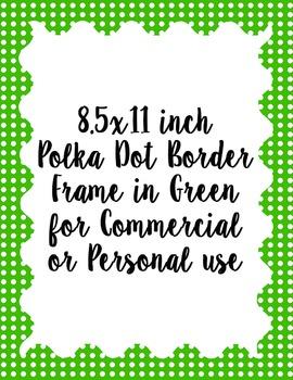 Polka Dot Scallop Border Frames, 12 digital border frames, 8.5x11 JPEG & PNG