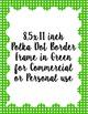 Polka Dot Scallop Border Frames, 12 digital border frames,