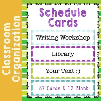 Daily Schedule Cards with Polka Dots Editable