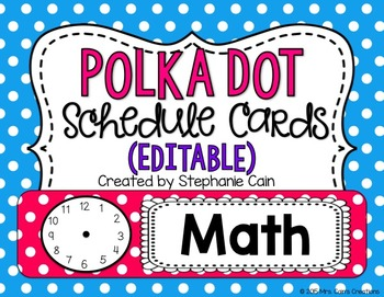 Polka Dot Schedule Cards (Editable)