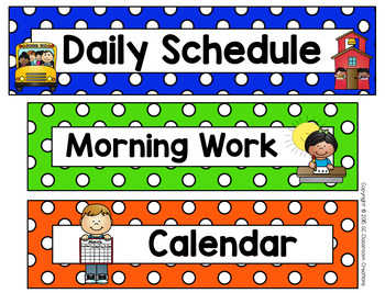 Polka Dot Schedule Cards (Primary Dots)-Classroom Decor