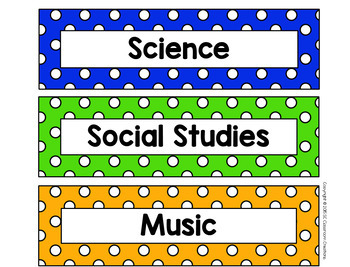 Polka Dot Schedule Cards (Primary Dots)-no pictures-Classroom Decor