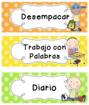 Polka Dot Schedule Cards (SPANISH)
