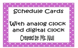 Polka Dot Schedule with Digital and Analog Clock