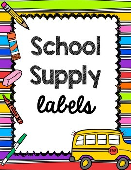 Polka Dot School Supply Labels
