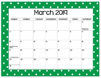 Polka Dot Calendar 2018-2019 {Dollar Spot}