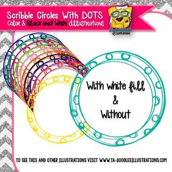 Polka Dot Scribble Circle Frames Clip Art