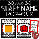 2-D and 3-D Shape Name Posters {Polka Dot and Red}