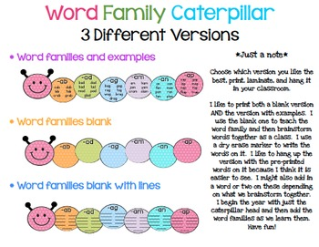 Polka Dot Word Family Caterpillar Posters (Short Vowels)