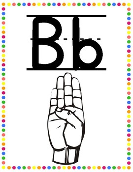 Polka Dot Sign Language Alphabet Cards