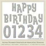 Polka Dot Silver Foil Birthday Numbers & Happy Birthday Word Art Graphics