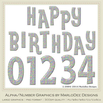 Polka Dot Silver Foil Birthday Numbers & Happy Birthday Word Art Graphics