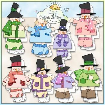 Polka Dot Snowmen Clip Art - Snowman Clip Art - Winter - C