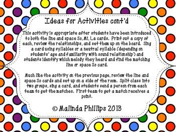 Polka Dot Solfege PDF: So Mi La Cards and Activities