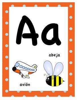 Polka Dot Spanish Alphabet Posters