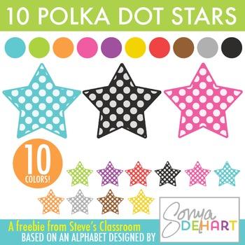 Free Downloads! Polka Dot Star Clip Art