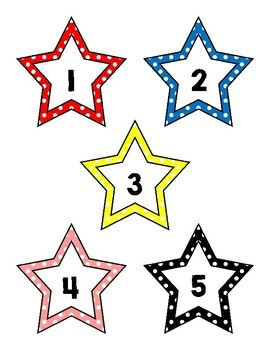 Polka Dot Stars and Numbers  File Folder Game