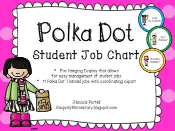 Polka Dot Student Job Chart