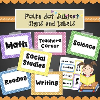 Polka Dot Subject Labels- Math, Reading, Writing, Social Studies, Science