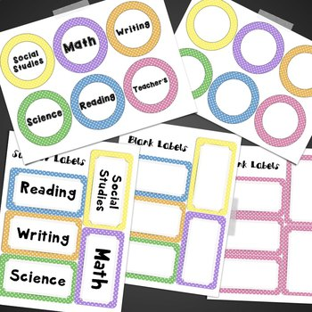 Polka Dot Subject Labels- Math, Reading, Writing, Social Studies, Science
