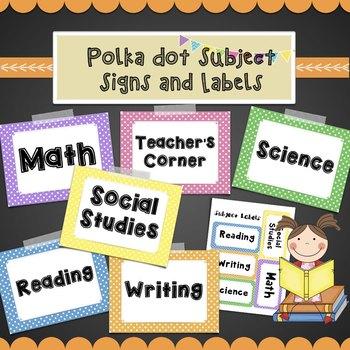 Polka Dot Subject Labels- Math, Reading, Writing, Social S