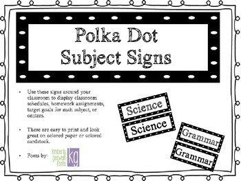 Polka Dot Subject Signs (B&W)