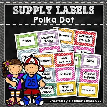 Classroom Supply Labels: Polka Dot