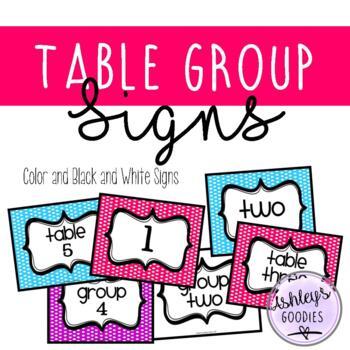 Polka Dot Table Group Signs