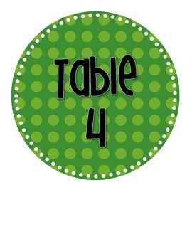 Polka Dot Table Number Signs